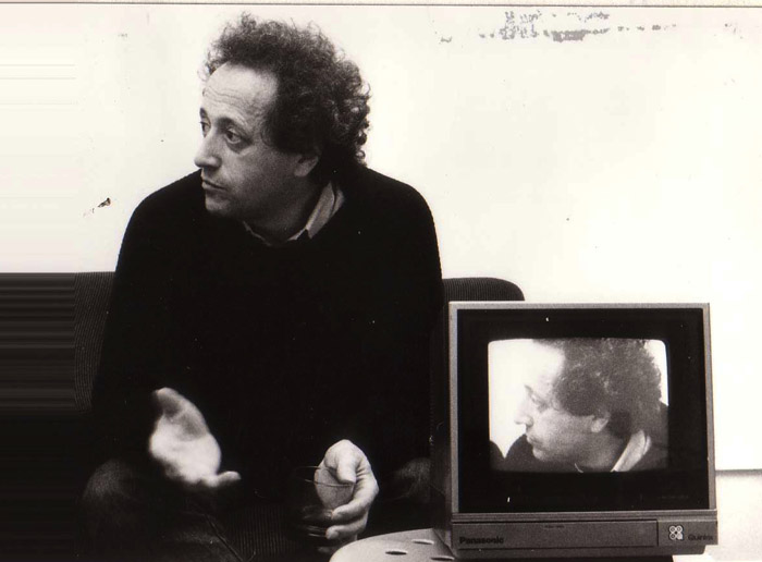 Filming the French author Bernard Noël for a film project with Irene Lichtenstein. (1984)